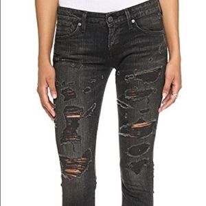 AGOLDE Distressed Chloe Low Rise Skinny Jeans 25